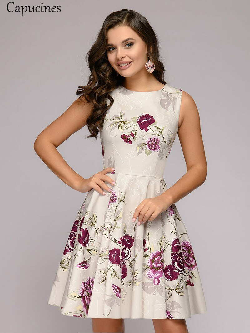 Capucines Ladies Elegant Printing Creamy-white Summer Dress Casual Sleeveless Round Neck Mini A word Party Dress For Women