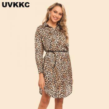 Uvkkc Summer Leopard Women Dress 2019 Ladies Spring Elegant Party Sexy Boho Beach Long Sleeve Shirt Dresses For Women Vestidos