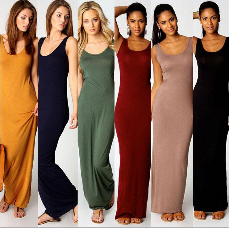 Sparsil Women Solid Color Elastic Party Dress Multiple Colors Sleeveless Slim Sheath Sexy Dress Elegant O-Neck Lady Long Dress