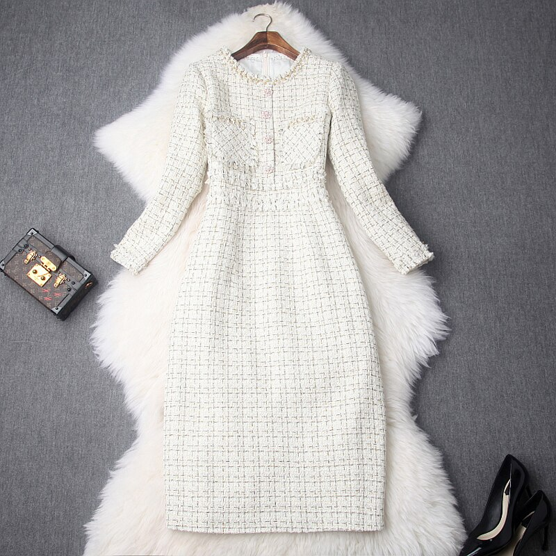 Career OL Dress Spring 2019 new Superior quality Womens Vintage ladies Christmas Slim Dresses Knee Length Keep warm winter dress