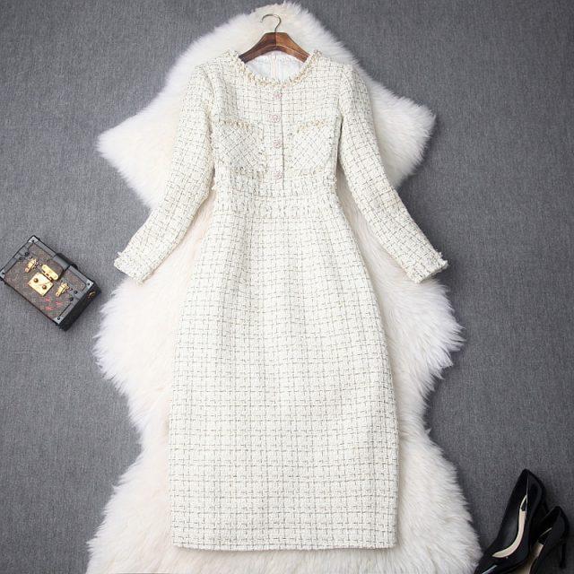 Career OL Dress Spring 2019 new Superior quality Womens Vintage ladies Christmas Slim Dresses Knee Length Keep warm winter dress