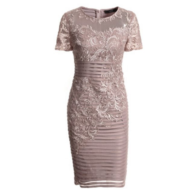 sexy office ladies dress 2018 new women Superior quality summer elegant Pencil Dress plus size O-Neck Embroidery Autumn dresses