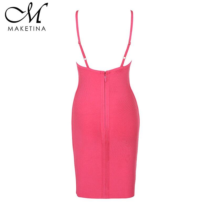 Maketina New Arrival Women Bandage Dress 2019 Summer Sexy Club Bodycon Bandage Dress Strap V Neck Rayon Bandage Dress Plus Size