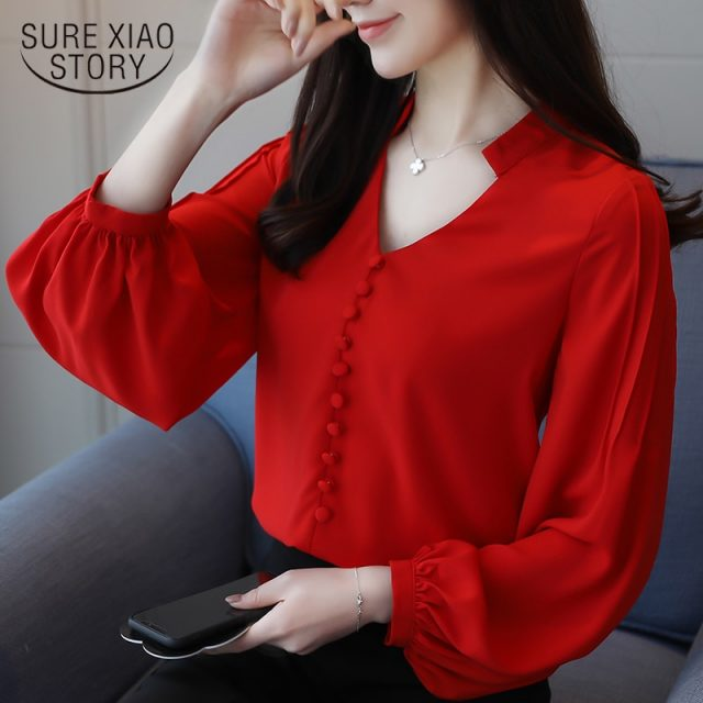 2018 new women tops solid office lady solid simple casual lady blouse shirt button long sleeved blouses women clothing 0603 30