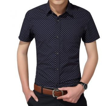 Hot 2019 Summer New Fashion Brand Clothing Men Short Sleeve Shirt Polka Dot Slim Fit Shirt 100% Cotton Casual Shirts Men M-5XL