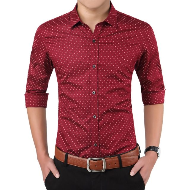 2019 New Autumn Fashion Brand Men Clothes Slim Fit Men Long Sleeve Shirt Men Polka Dot Casual Men Shirt Social Plus Size M-5XL