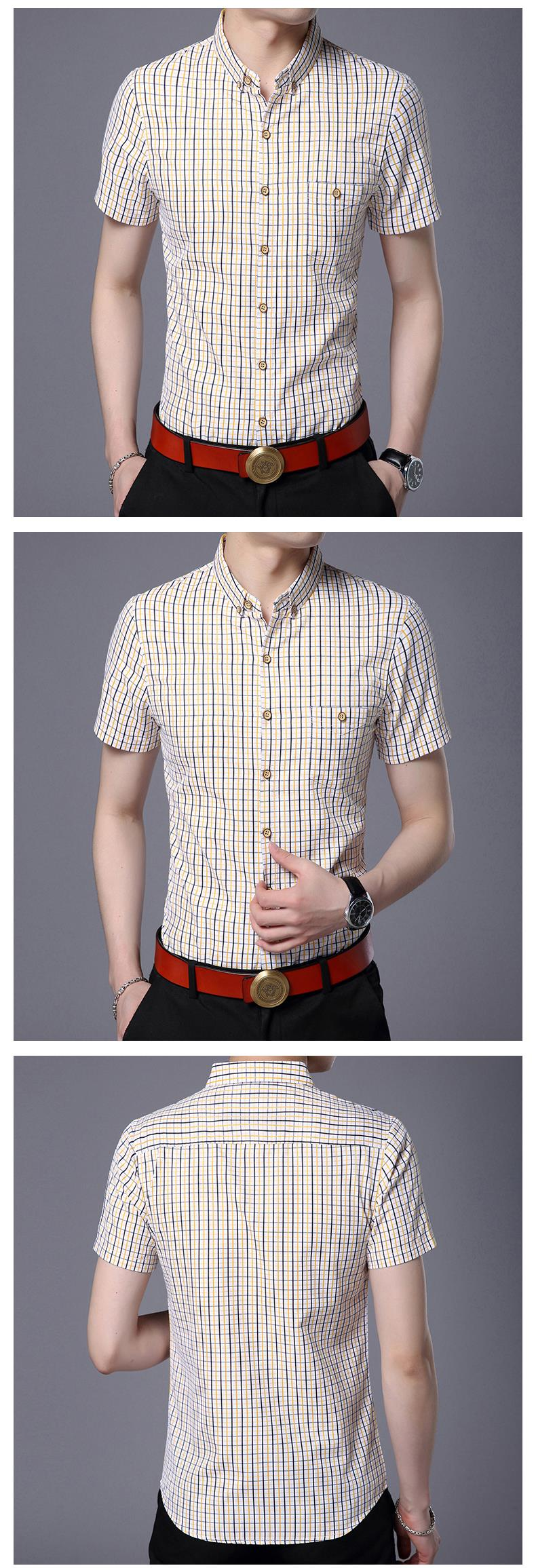 2019 Fashion Summer Brand Shirt Mens Plaid Workout Short Sleeve Slim Fit Street Wear Button Up High Quality boys Casual Clothes