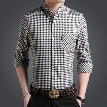 2019 New Fashion Brand Clothing Men's Shirts With Long Sleeves Breathable Shirt Slim Fit Checkered Casual Social Shirt Men