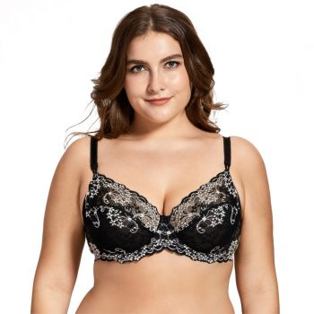 Women's Full coverage Underwired Non Padding Sheer Floral Lace Breathable Balconette Bra Plus Size