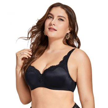 Women's Full-Coverage Underwire Smooth Lightly Lined No Show Supportive Lace T-shirt Bra