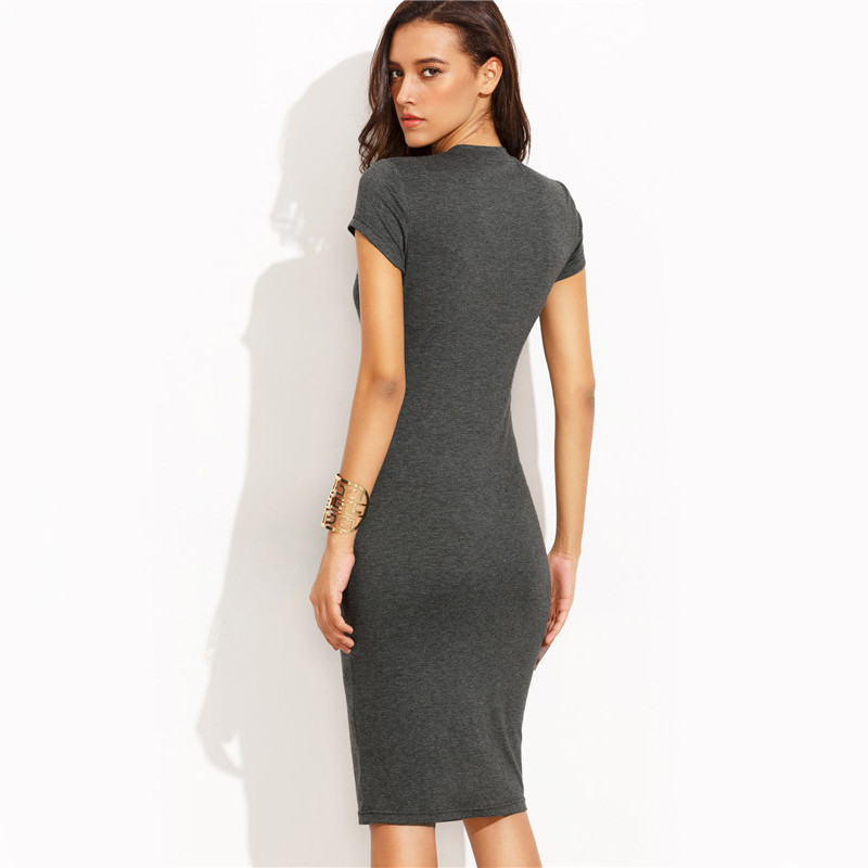 COLROVIE Summer Office New Arrival Women's Bodycon Dresses Fashion Sexy Short Sleeve Crew Neck Work Knee Length Dress