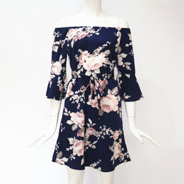Women's Boho Off Shoulder Floral Printed Dress