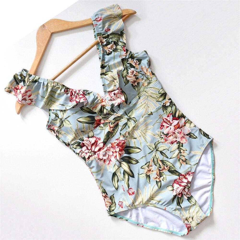 Sexy Female Retro V Neck Blue Striped Swimsuit One Piece Ruffled Push Up Padded High Waist Swimwear Women Monokini