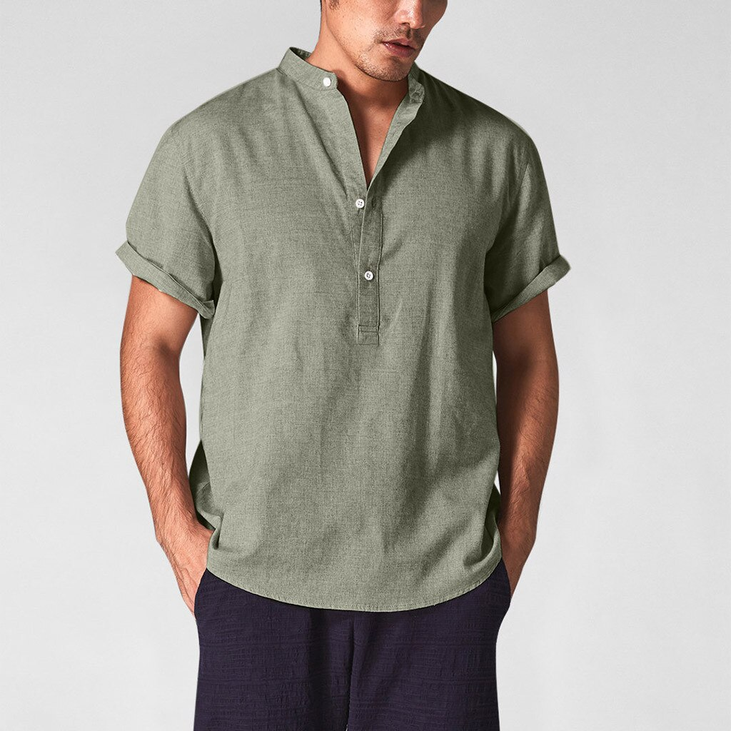 Men Cotton Linen Shirts Casual Shirts V-Neck Buttons Breathable Pullover Summer Wear Shirt Roll Up Sleeves Cool Green khaki Tops
