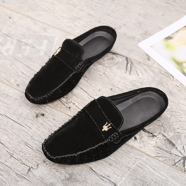 Casual Footwear Men Youth Half Drag Comfortable Man Shoes Black Brown Breathable Fashion Shoes Brand Designer Half slippers