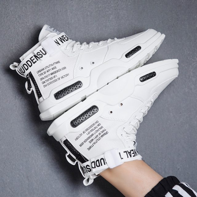 Casual Shoes Men Autumn 2019 Footwear Men's White Red Sneakers Army Boots Lace Up Flats Breathable Fashion High Top Shoes