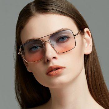 New Oversized Square Sunglasses Women Luxury Brand Designer Frame Transparent Gradient Sun Glasses Female Oculos De Sol Feminino