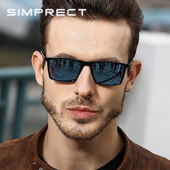 SIMPRECT 2019 Square Sunglasses Men Polarized Mirror Driving Retro Sun Glasses UV400 High Quality Brand Lunette De Soleil Homme