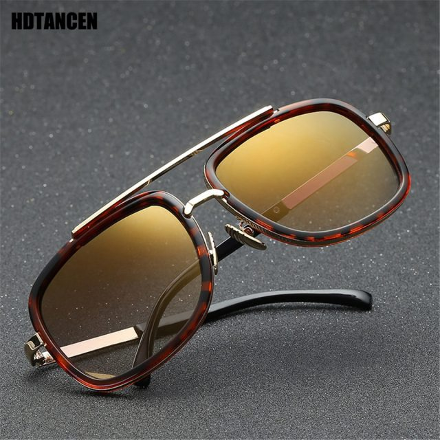 HDTANCEN New Fashion Big Frame Sunglasses Men Square Fashion Glasses for Women High Quality Retro Sun Glasses Vintage