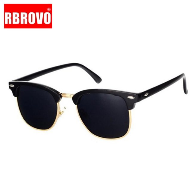 RBROVO 2019 Semi-Rimless Brand Designer Sunglasses Women/Men Polarized UV400 Classic Oculos De Sol Gafas Retro Eyeglasses