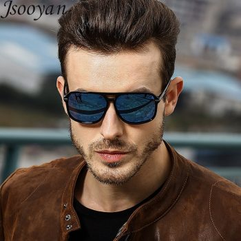 Jsooyan Polarized Sunglasses Men Square Brand Designer Sun Glasses Retro yellow night vision Goggles Male Driving Eyewear