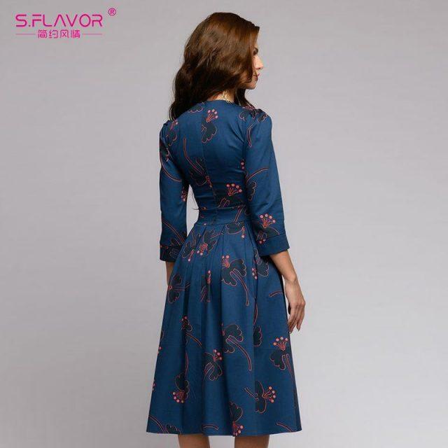 Women flowers printing Autumn dress Casual 3/4 sleeve simple Winter long dress