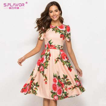 S.FLAVOR Floral Print Women Short Dress Women 2019 Short Sleeve Elegant Party Vestidos O Neck Female Casual A-Line Chic Dress