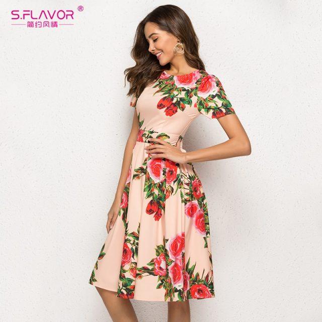 S.FLAVOR Floral Print Women Short Dress Women 2019 Short Sleeve Elegant Party Vestidos O Neck Female Casual A-Line Chic Dress