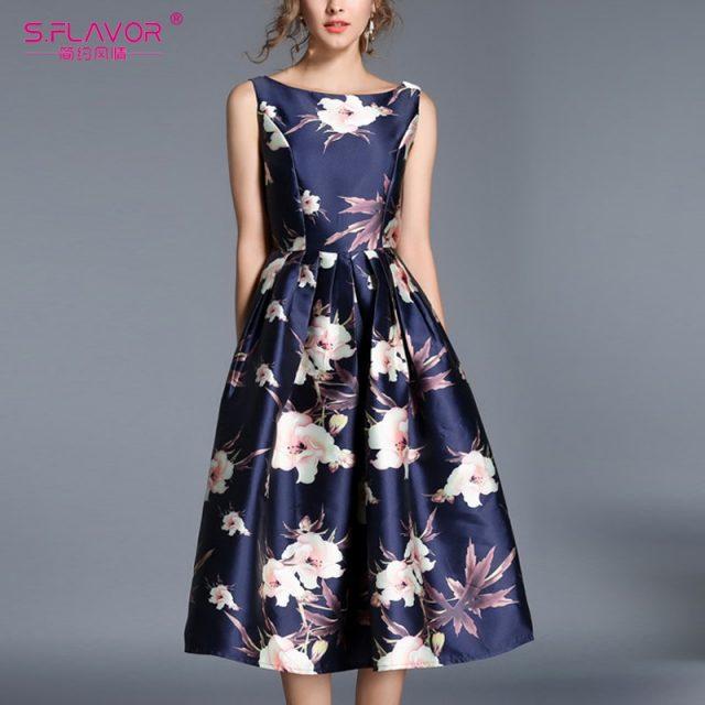 S. FLAVOR Vintage Style Sleeveless Dress Elegant A-line Rerto Dress 2019 Elegant Backless Sexy Party Vestidos De Festa