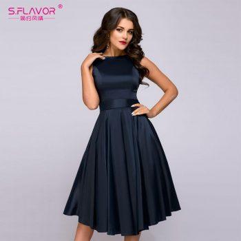 S.FLAVOR vintage style knee-length dress fashion sleeveless elegant A-line vestidos with belt party short dress