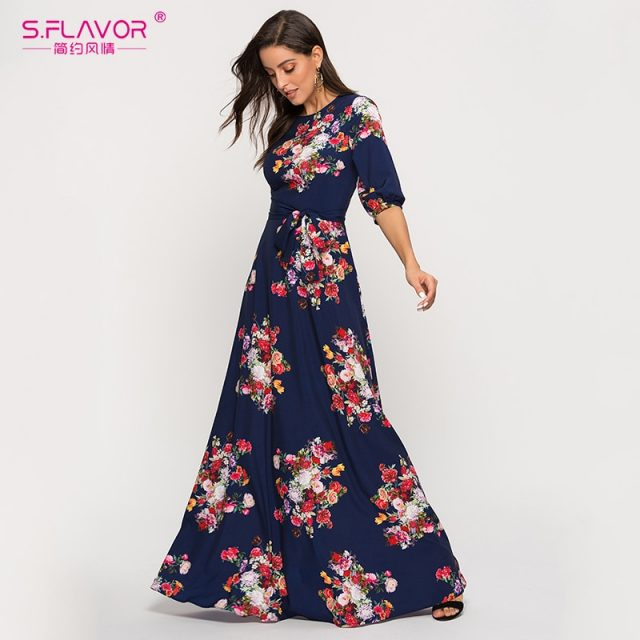 S.FLAVOR flower printed vintage dress women A-line 0-neck elegant long maxi dresses Elegant basic casual Autumn Winter dress