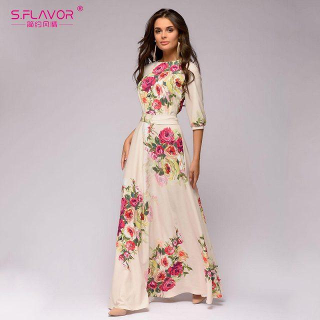 S.FLAVOR Autumn Winter vestidos de festa Hot sale O-neck half lantern sleeve long dress for female Elegant Bohemian women dress