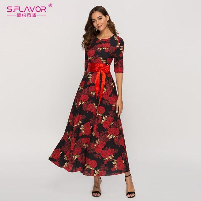 Half Sleeve Long Casual Dress O-neck For Women
