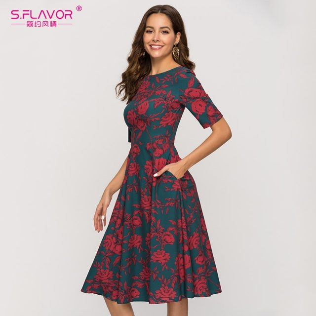 Women Vintage Printing Dress For Women Elegant Red Rose Printed Green A-line Dress Autumn Winter Women Casual Vestidos