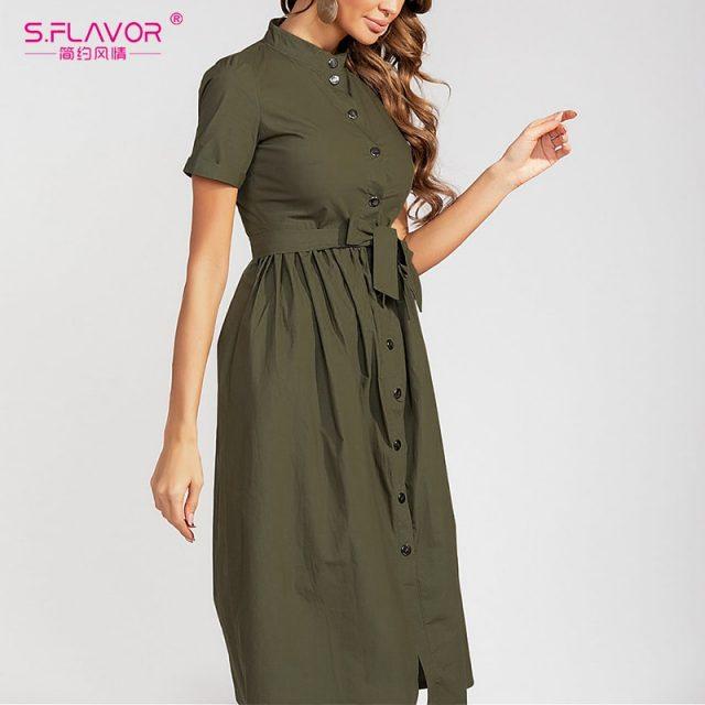 S.FLAVOR Women Solid Color Cotton Dress Elegant Single Button Stand Collar Casual Dress For Female 2019 Autumn Fashion Vestidos