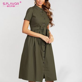 S.FLAVOR Women Solid Color Cotton Dress Elegant Single Button Stand Collar Casual Dress For Female 2019 Autumn Fashion Vestidos