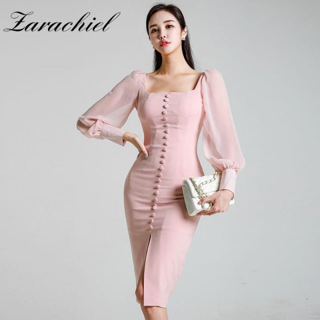 2019 Spring OL Pink Split Pencil Dress Women Elegant Single-Breasted Chiffon Lantern Sleeve Patchwork Knee Length Bodycon Dress