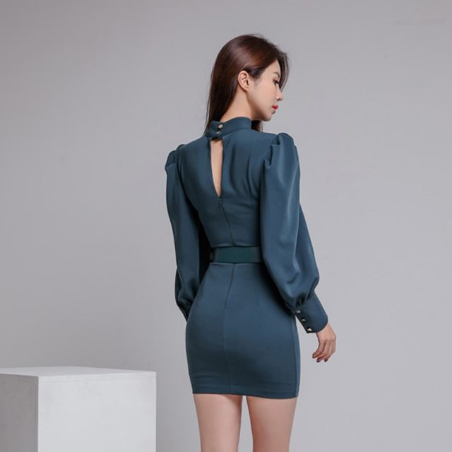 2019 New Arrival Spring OL Lantern Sleeve Stand Collar Bodycon Mini Dress Women Vintage Bottoming Sashes Hollow Out Pencil Dress