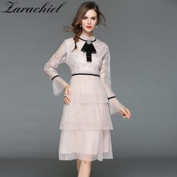 Elegant Stand Collar Ruffle Lace Patchwork Mesh Dress Women Hollow Out Flare Sleeve Bow Dress Summer 2019 Fitted Pleated Dress