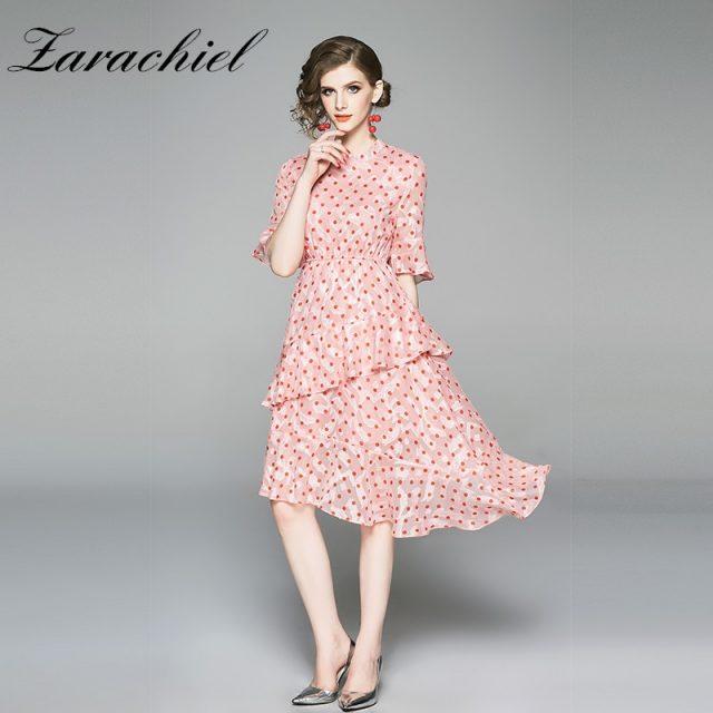 2019 Summer Elegant Red Polka-Dot Dress Women Vintage Half Sleeve High Elastic Waist Tiered Ruffles Irregular Midi Dress Vestido