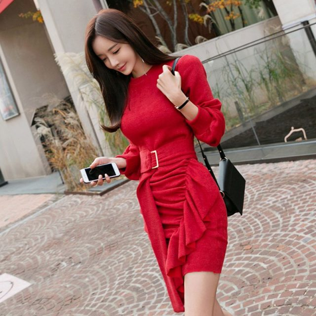 Elegant Ruffles Ruched Draped Sweater Dress 2019 Spring Women Long Sleeve Wrap Belted Bottoming Elastic Knitted Mini Dress