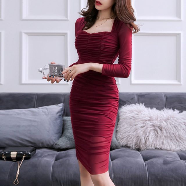 Sexy Club Bodycon Draped Dress 2019 Spring Summer Square Collar Stretch Sheath Dresses Women Elegant Party Slim Fit Vestidos