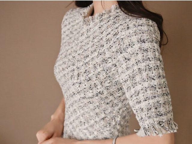 Small Fragrant Tweed Half Sleeve High Waist Midi Dress Elegant Plaid Slim Fit