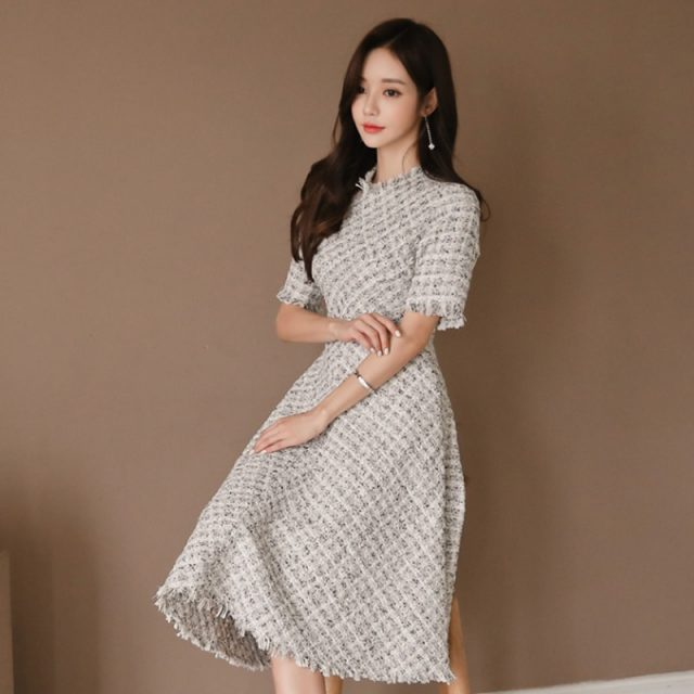 Small Fragrant Tweed Half Sleeve High Waist Midi Dress Elegant Plaid Slim Fit
