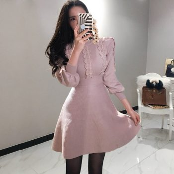 Elegant Lantern Sleeve Draped Knitted Dress Women Lace Patchwork Petel Sweater Mini A-Line Dress Autumn Winter Sweater Dresses