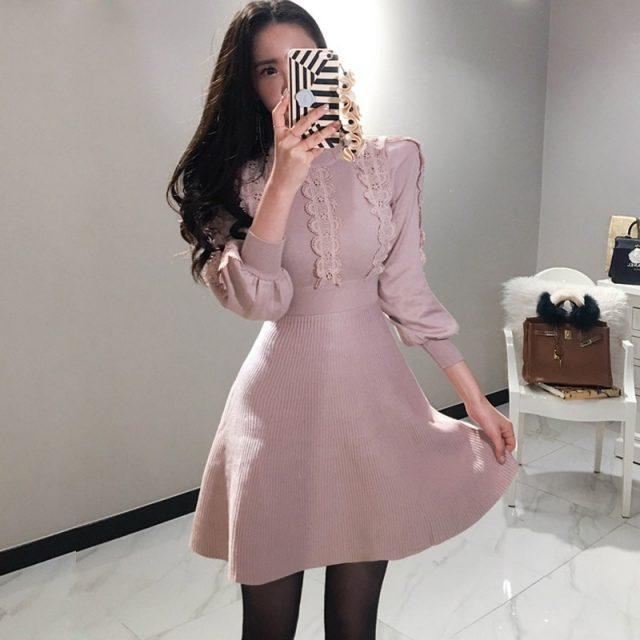 Elegant Lantern Sleeve Draped Knitted Dress Women Lace Patchwork Petel Sweater Mini A-Line Dress Autumn Winter Sweater Dresses