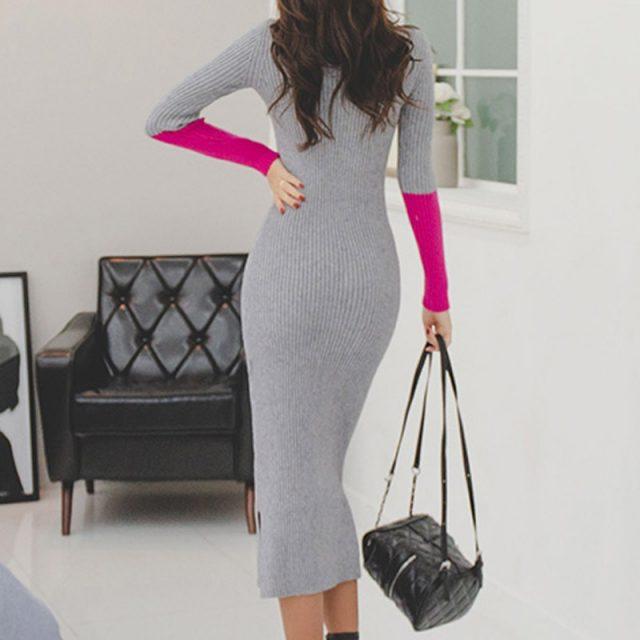 Women Turtleneck Knitted Split Long Dress New Arrival Winter Office Lady Long Sleeve Slim Bottoming Skinny Grey Sweater Dress