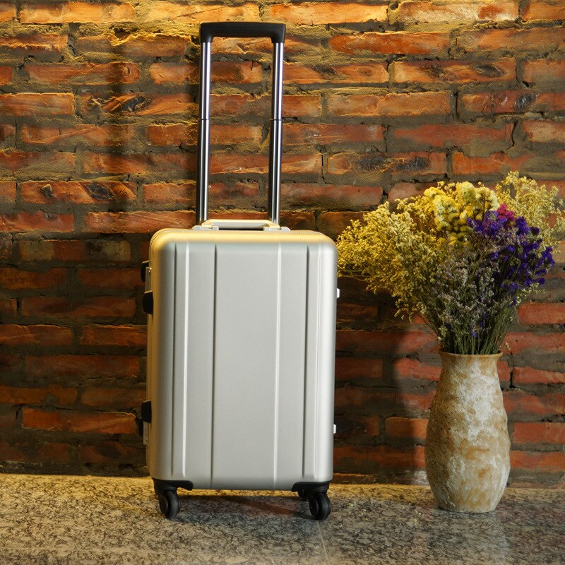 100 Aluminium Rolling Luggage Trolley Password Box 20' Boarding Suitcase Women Travel Bag Trunk