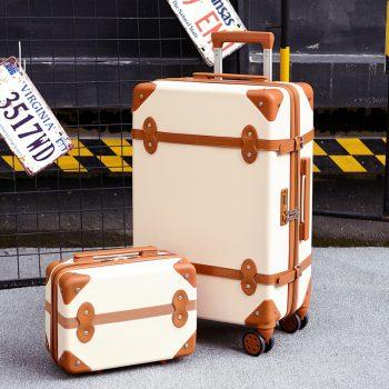 Two piece Set of Trolley case,Password lock box,Retro suitcase,Universal wheel 24