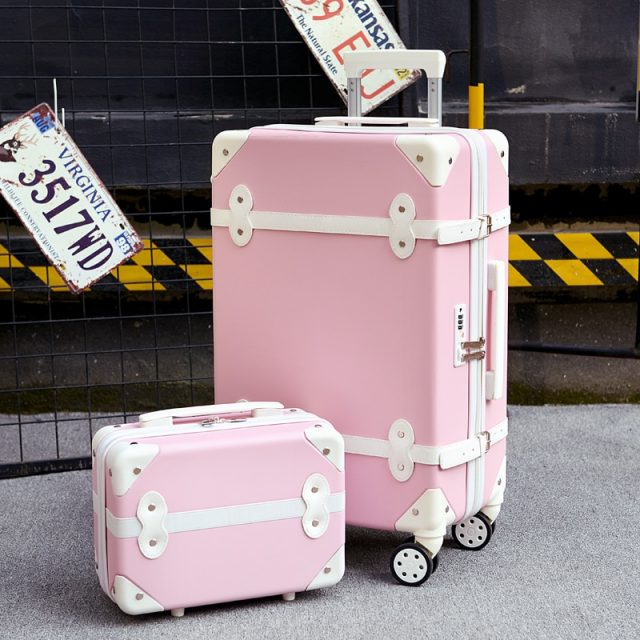 Two piece Set of Trolley case,Password lock box,Retro suitcase,Universal wheel 24″student cute luggage,Fashion valise